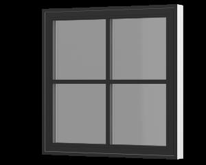 Rationel topstyret vindue med krydssprosse. Fås både i træ og træ/alu.  Leveres i en klassisk model med 25 mm energisprosse og en moderne model med en 31 mm energisprosse. Vælg mellem varianterne Basic med 2 lag glas og Premium med 3 lag glas.